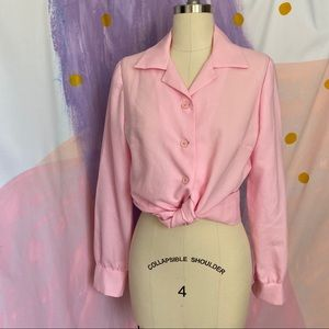 VINTAGE 1970s Pastel Pink Balloon Sleeve Button Up